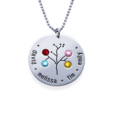 Familien Stammbaum Halskette mit Geburtssteinen - 4