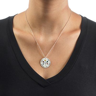 Familien Stammbaum Halskette mit Geburtssteinen - 5