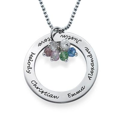 Runde Halskette aus Silber mit Geburtssteine