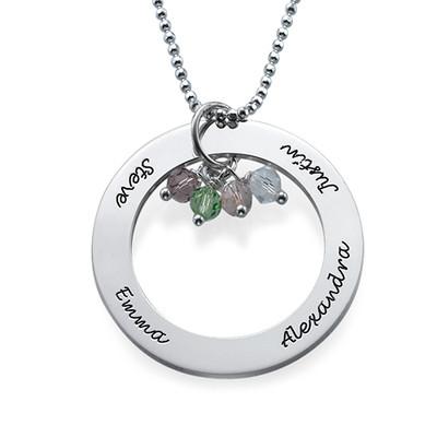 Runde Halskette aus Silber mit Geburtssteine - 1