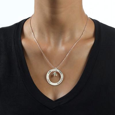 Runde Halskette aus Silber mit Geburtssteine - 2