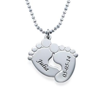 Gravierbare Babyfuß Halskette in Silber