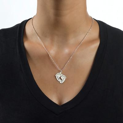 Gravierbare Babyfuß Halskette in Silber - 1