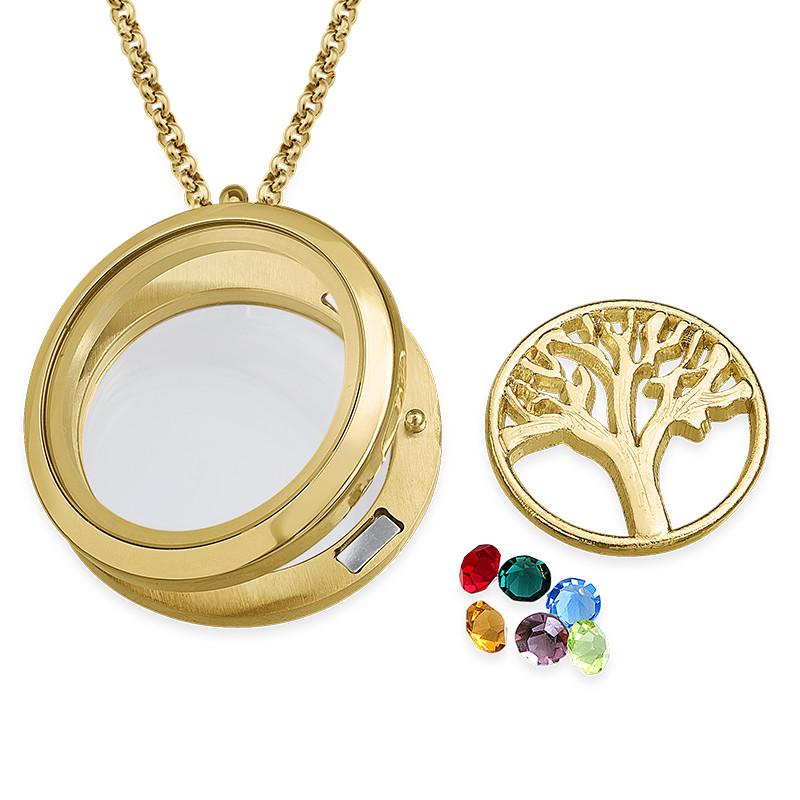 Vergoldetes Familienstammbaum-Charm Medaillon - 1