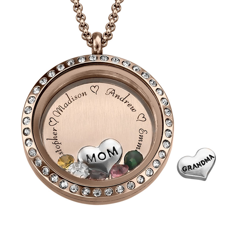 """Charm-Medaillon mit Gravur und Rosévergoldung - """"für Mutter oder Großmutter"""""""