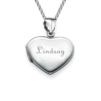 Graviertes Silber Mini Medaillon in Herzform