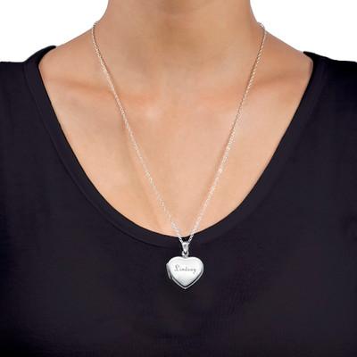 Graviertes Silber Mini Medaillon in Herzform - 3