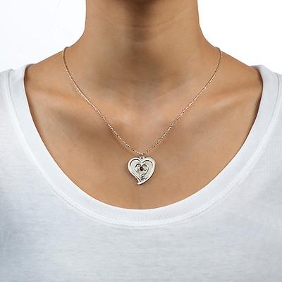 Personalisierte Geburtsstein-Herzkette für Pärchen aus Silber - 2