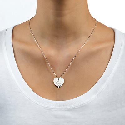 Gravierbare Herzkette mit Geburtssteinen für Pärchen - 1