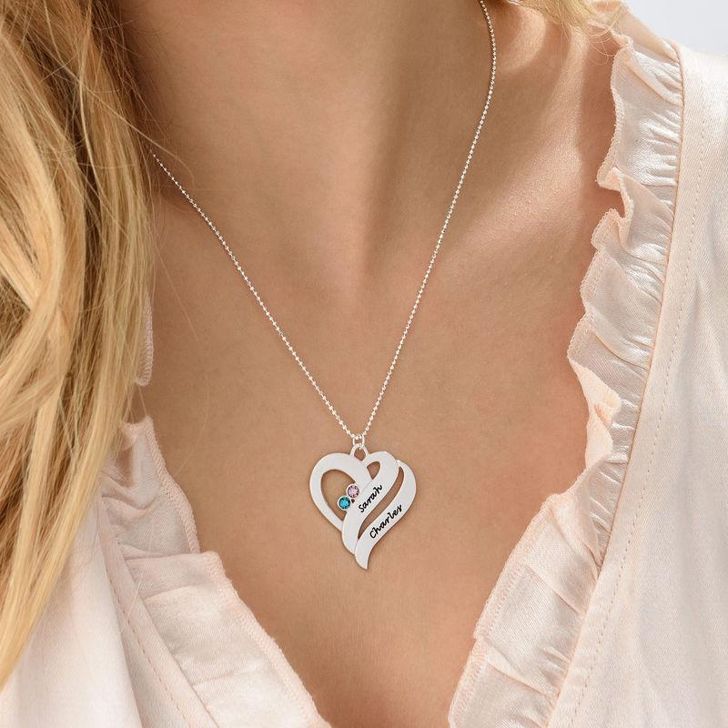 Geburtssteinkette mit Gravur und zwei Herzen für Mütter - 3