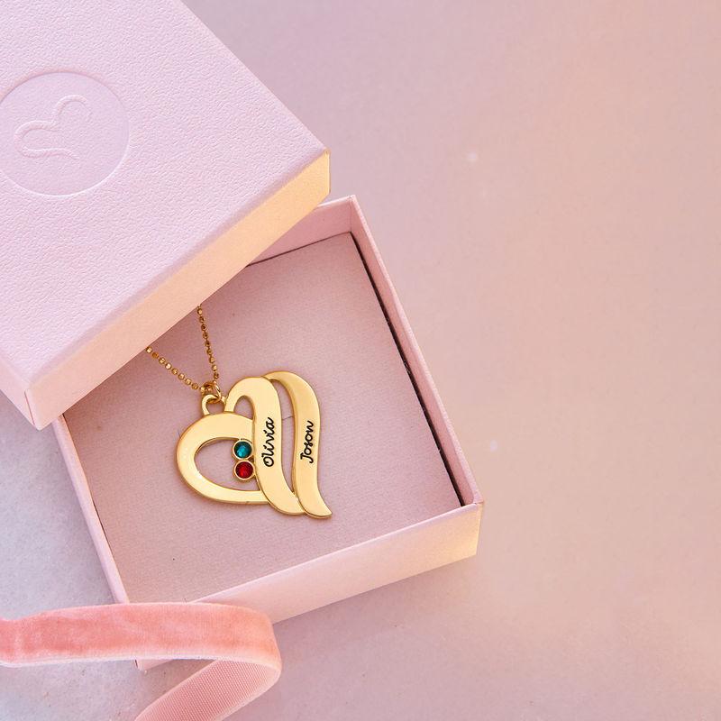 Geburtssteinkette aus 417er Gold mit zwei Herzen für Mütter - 5
