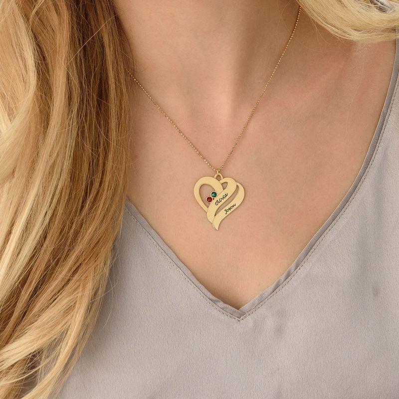 Geburtssteinkette mit Gravei Herzen für Mütterur und zw- 750er Gold-Vermeil - 2