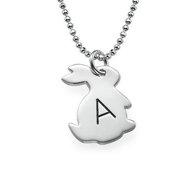 Häschenkette mit Initiale aus Silber