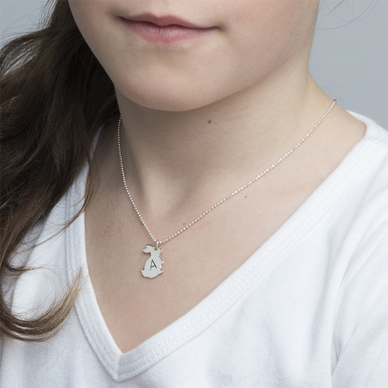 Häschenkette mit Initiale aus Silber - 1