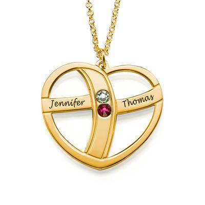 Geschenke für Mütter - gravierbare vergoldete Herzkette mit Geburtssteinen - 1