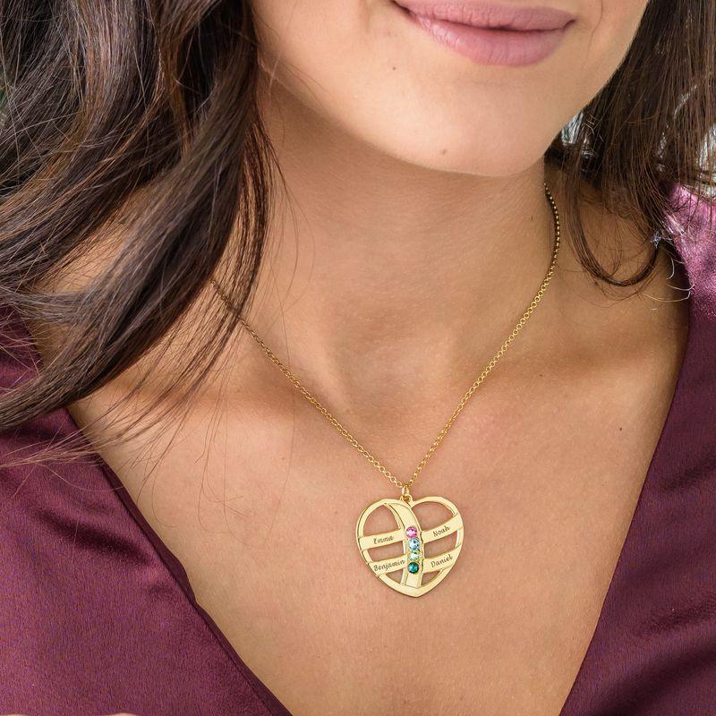 Geschenke für Mütter - gravierbare vergoldete Herzkette mit Geburtssteinen - 2
