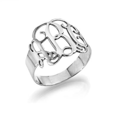 925er Silber Monogramm Ring