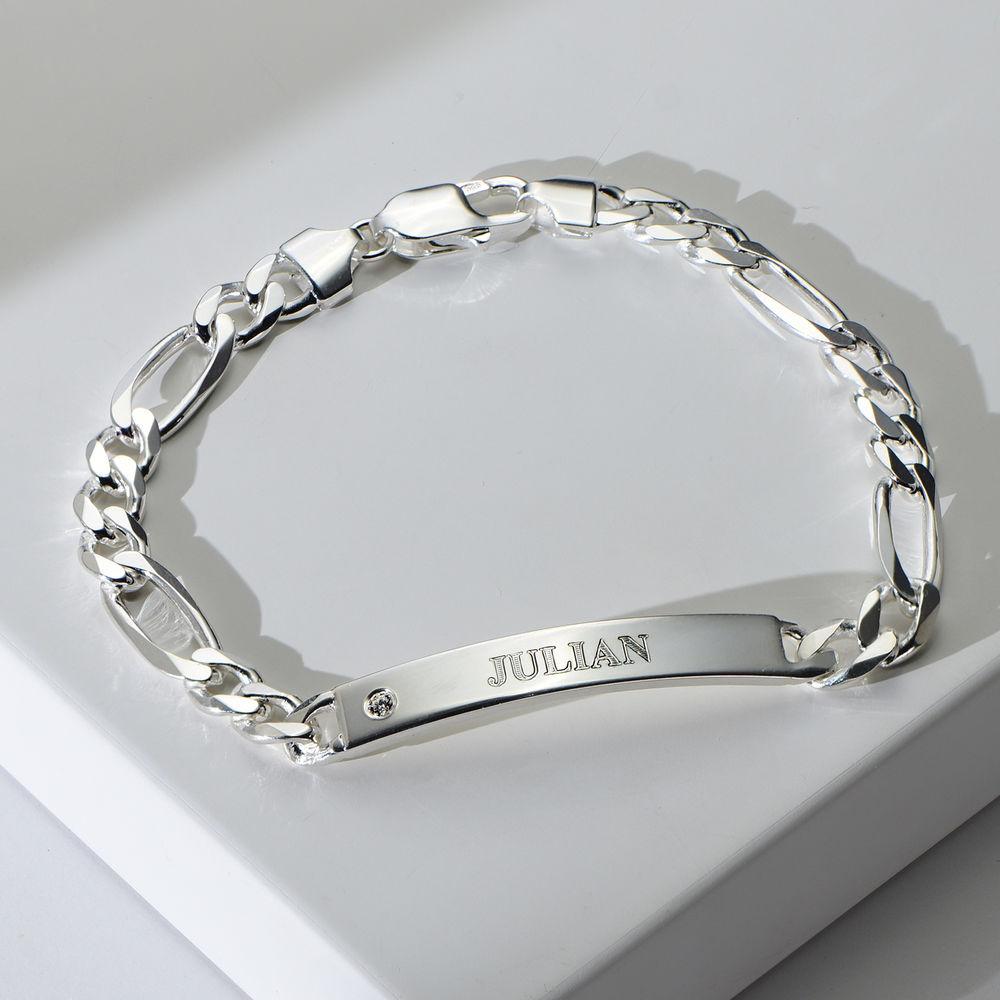 Massives 925er Silver Herrenarmband mit Gravur mit Diamant - 1