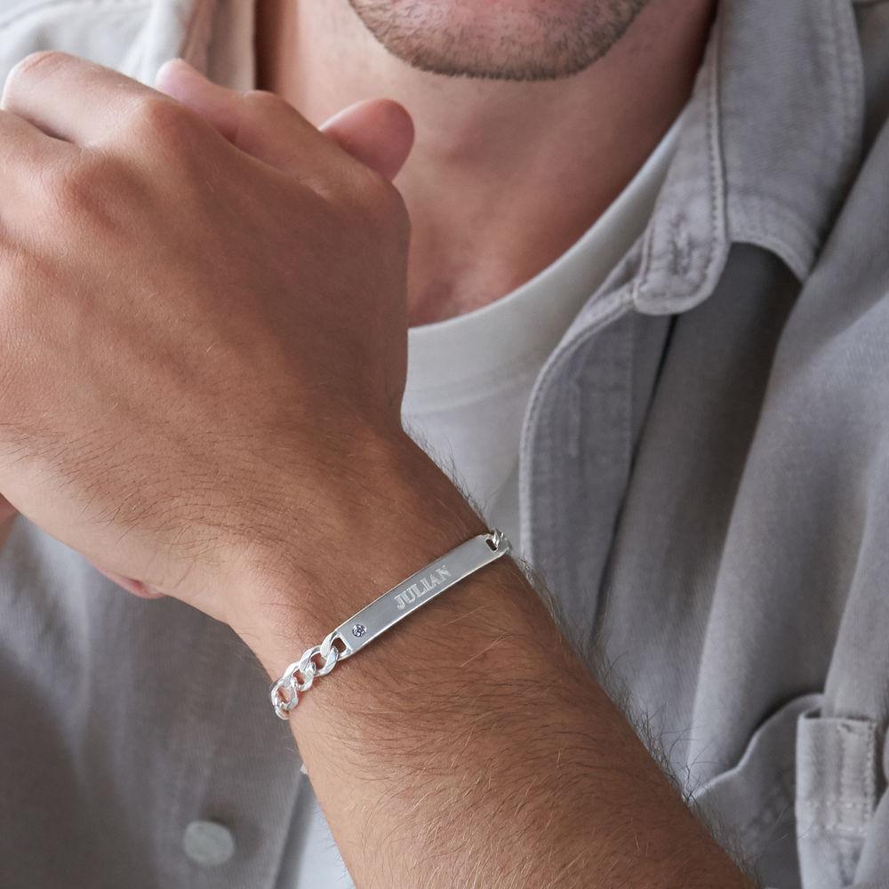 Massives 925er Silver Herrenarmband mit Gravur mit Diamant - 2