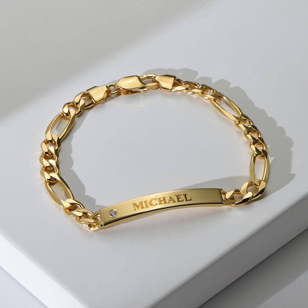 Graviertes ID-Armband für Männer mit Diamant - 1
