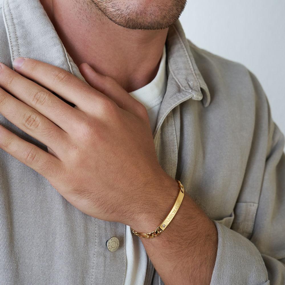 Graviertes ID-Armband für Männer mit Diamant - 2