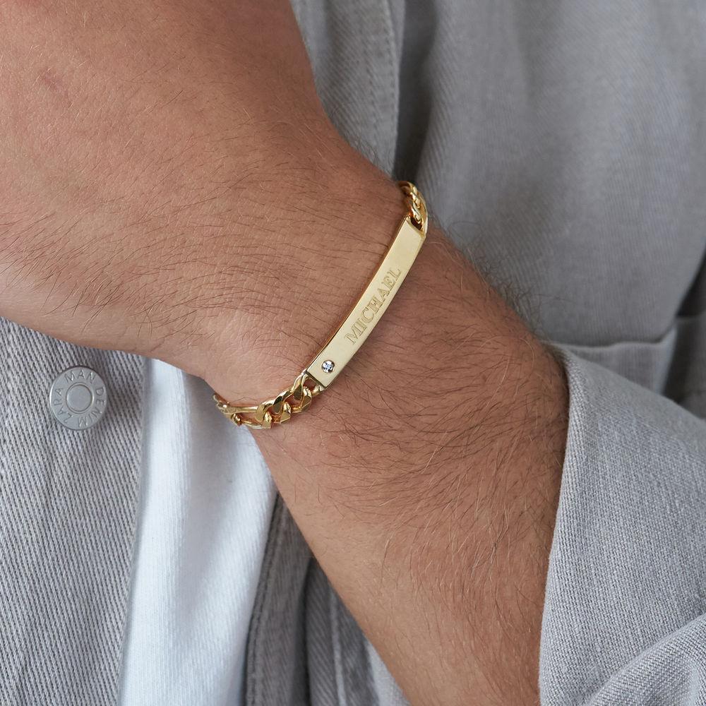 Graviertes ID-Armband für Männer mit Diamant - 3