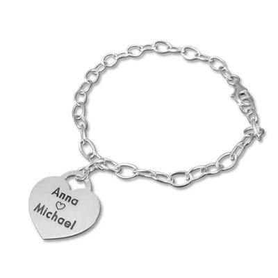 Silber Bettelarmband mit Gravur und Herz