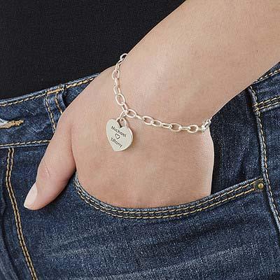 Silber Bettelarmband mit Gravur und Herz - 2