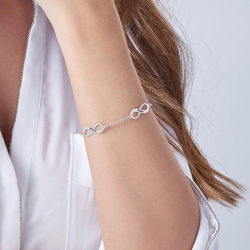 Mehrfach Infinity-Armband mit Gravur aus Silber - 4