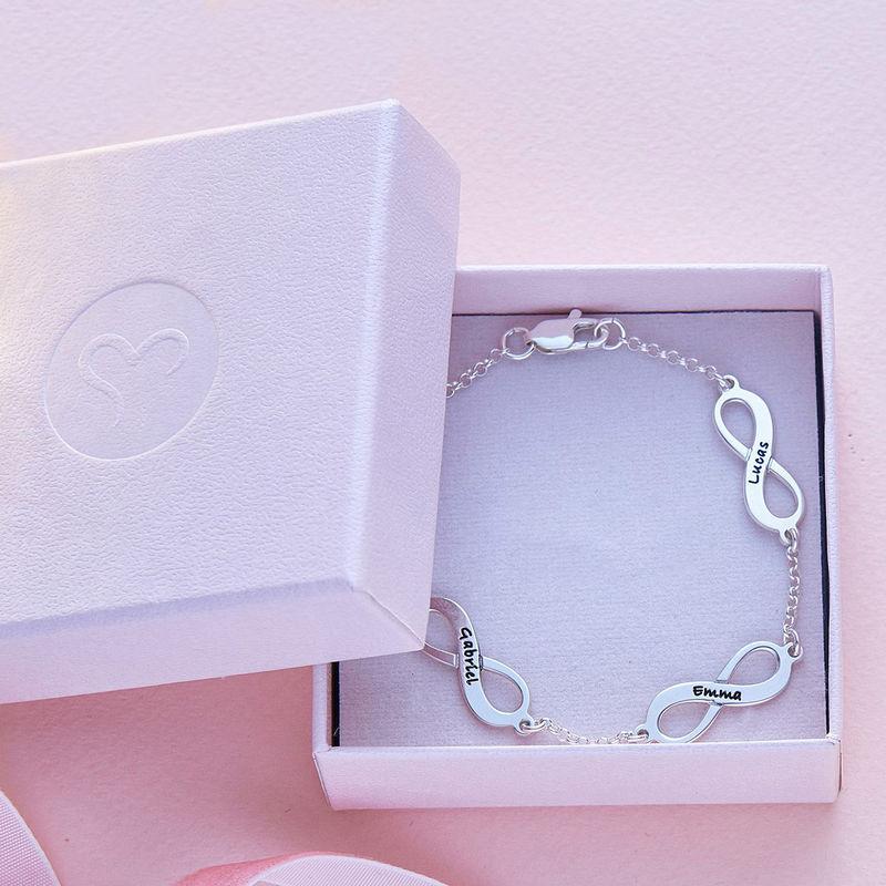 Mehrfach Infinity-Armband mit Gravur aus Silber - 5