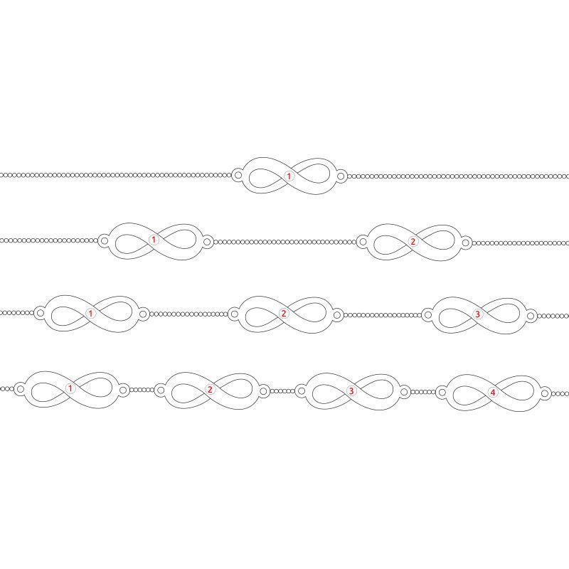 Mehrfach Infinity-Armband mit Gravur aus Silber - 6