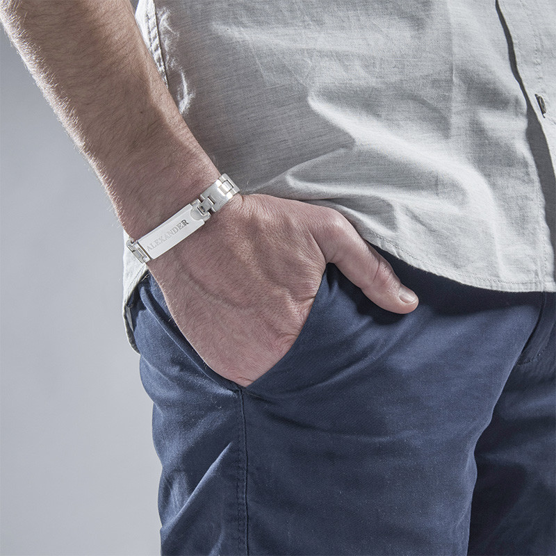 Edelstahl-Glieder-Armband mit Gravur für Herren - 1