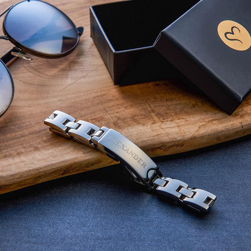 Edelstahl-Glieder-Armband mit Gravur für Herren - 2
