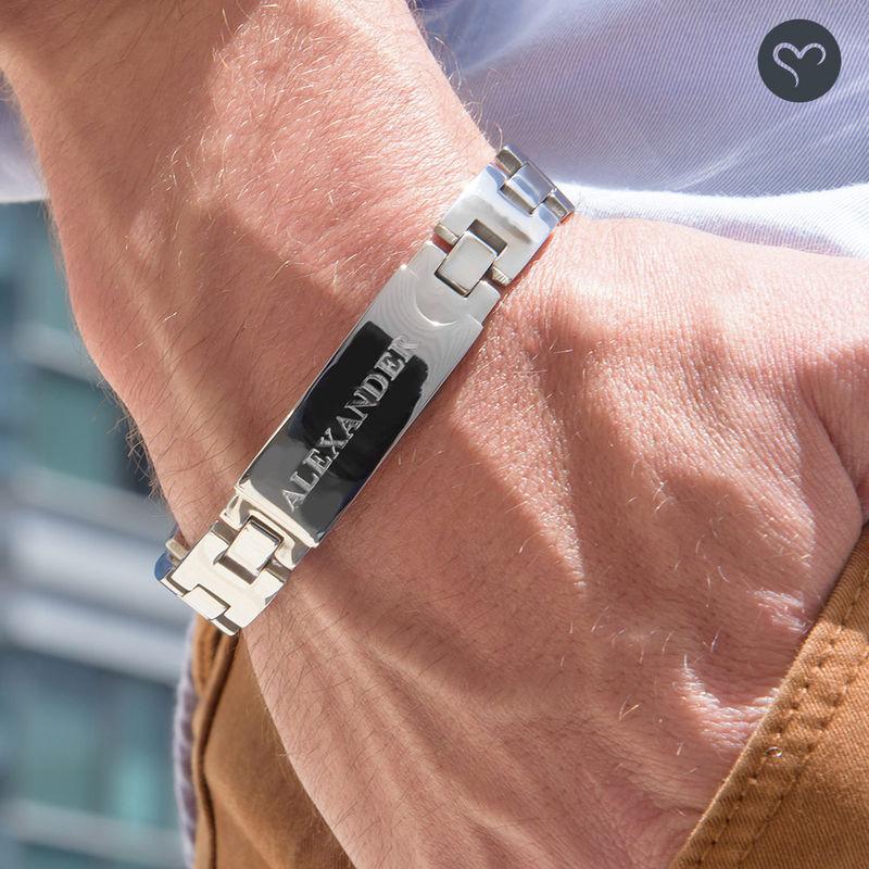 Edelstahl-Glieder-Armband mit Gravur für Herren - 3