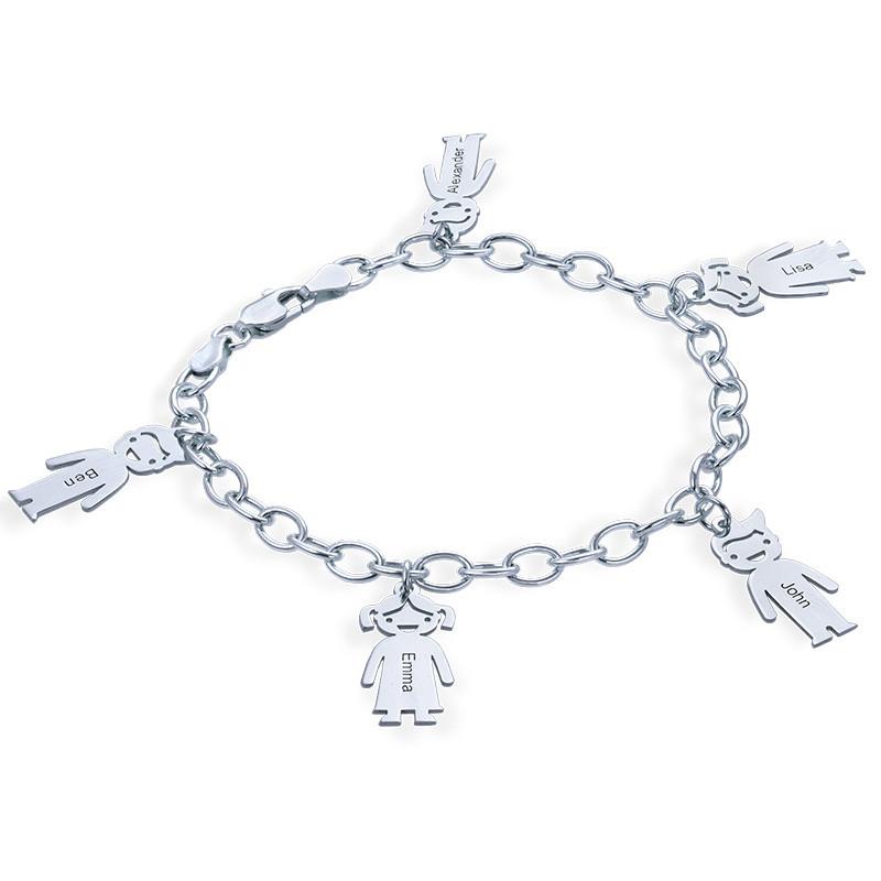 Bettelarmband mit eingravierten Kinder Charms aus 925er Silber