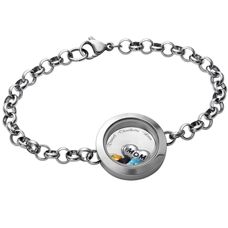 Graviertes Armband aus Edelstahl mit Medaillon für Mutter oder Großmutter