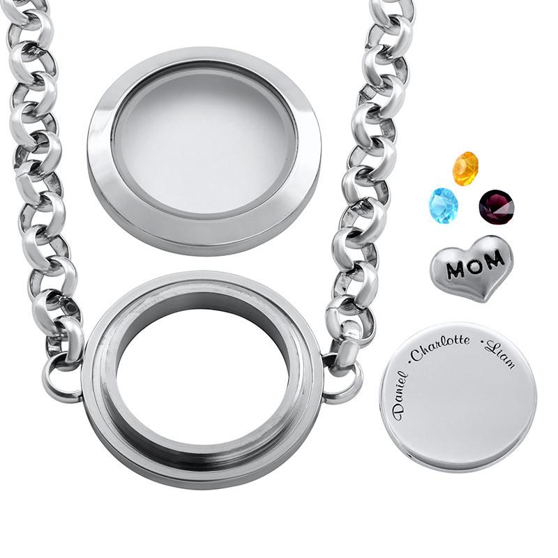 Graviertes Armband aus Edelstahl mit Medaillon für Mutter oder Großmutter - 1