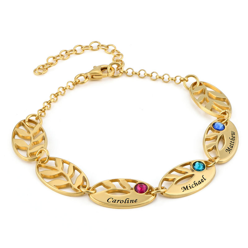 Goldbeschichtetes Mutter-Blattarmband mit Gravur
