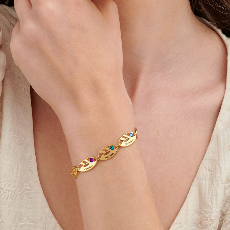 Goldbeschichtetes Mutter-Blattarmband mit Gravur - 2