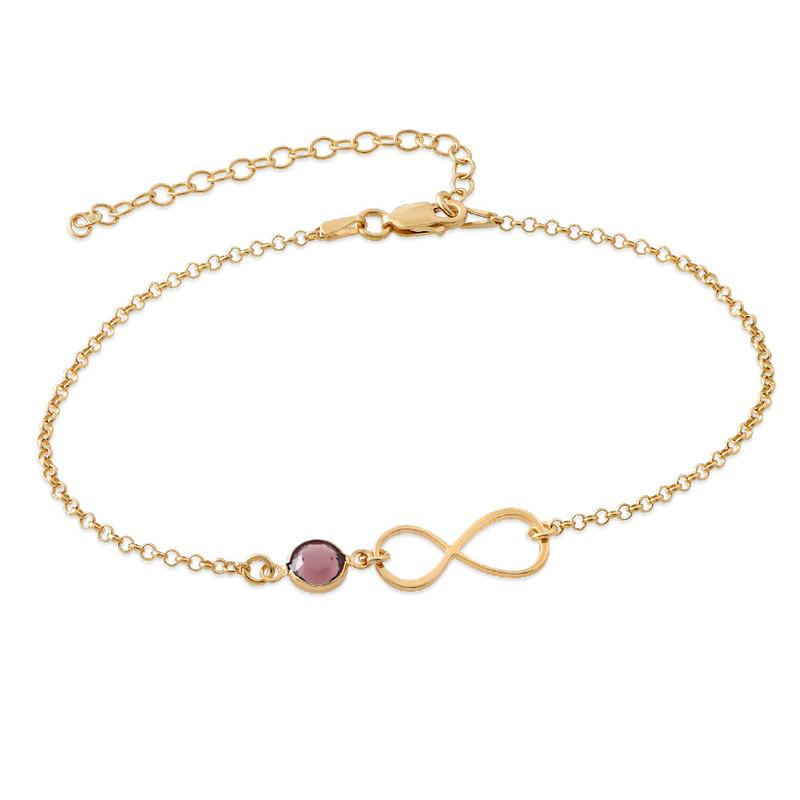 Infinity Fußkette mit Vergoldung und Geburtsstein