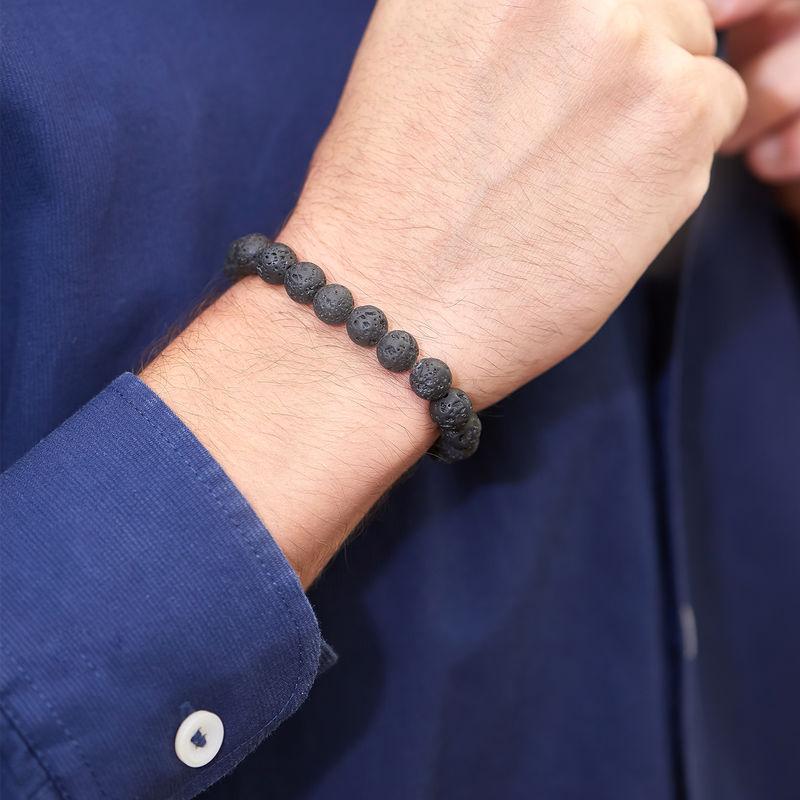 Armband für Herren mit Lavasteinperlen - 1