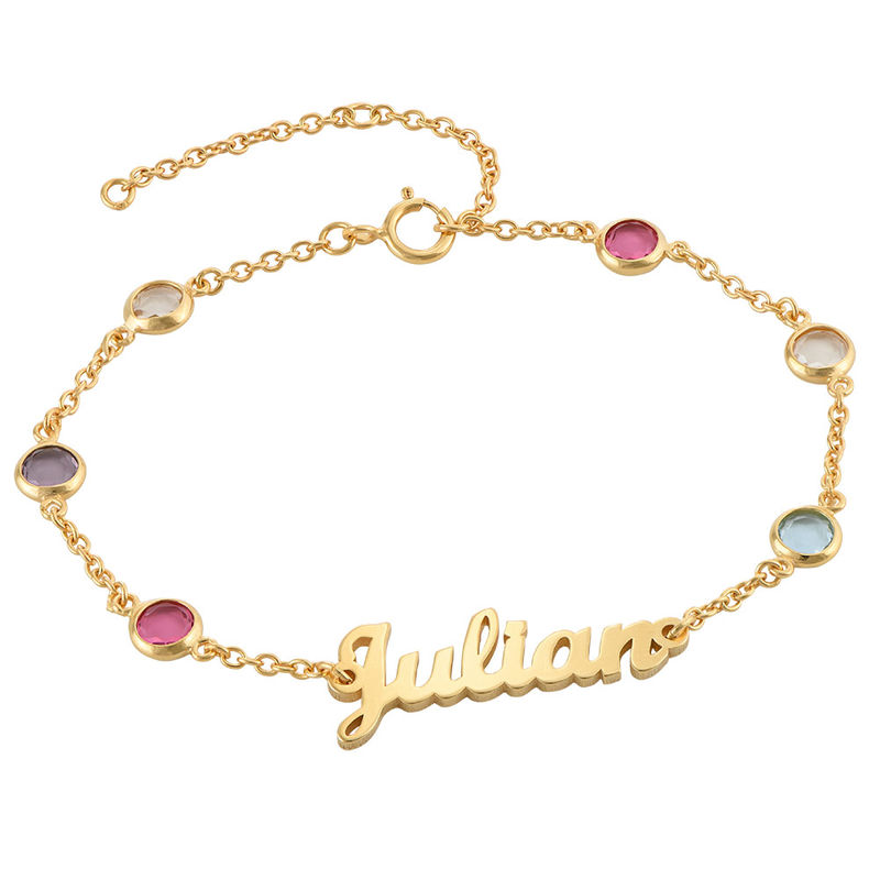 Namensarmband mit mehrfarbigen Steinen und Goldbeschichtung