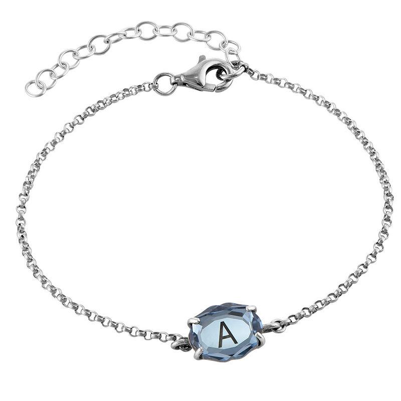 Silbernes Armband mit Gravur und Geburtsstein
