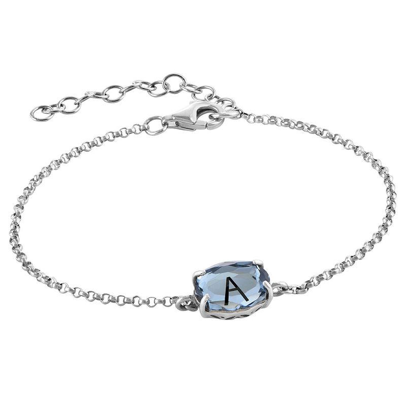 Silbernes Armband mit Gravur und Geburtsstein - 2