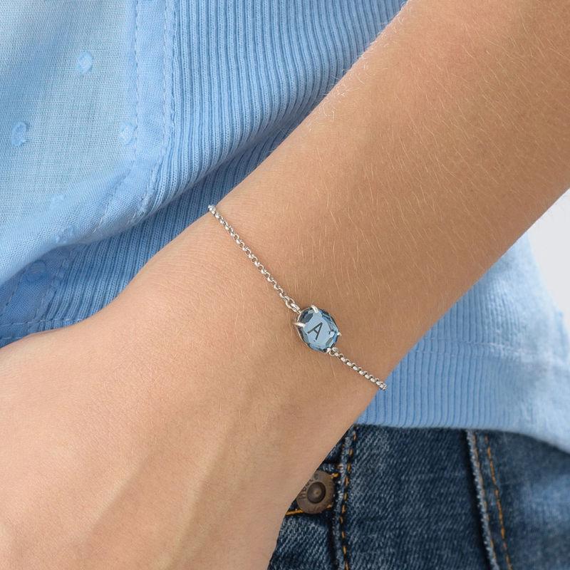 Silbernes Armband mit Gravur und Geburtsstein - 4