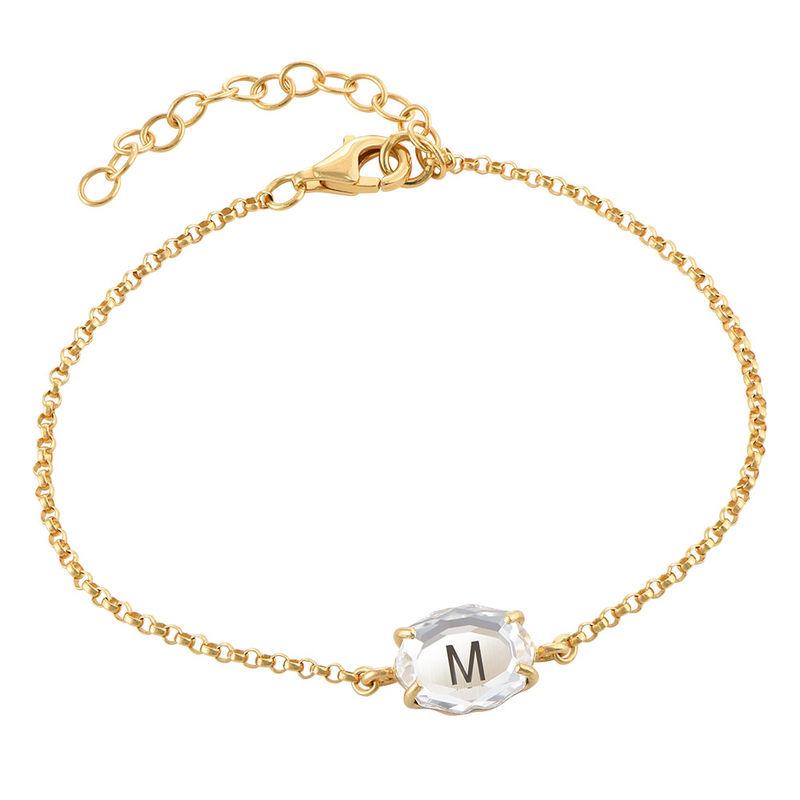 Gravierbares Armband mit Buchstaben, Swarovski-Stein und Gold-Beschichtung