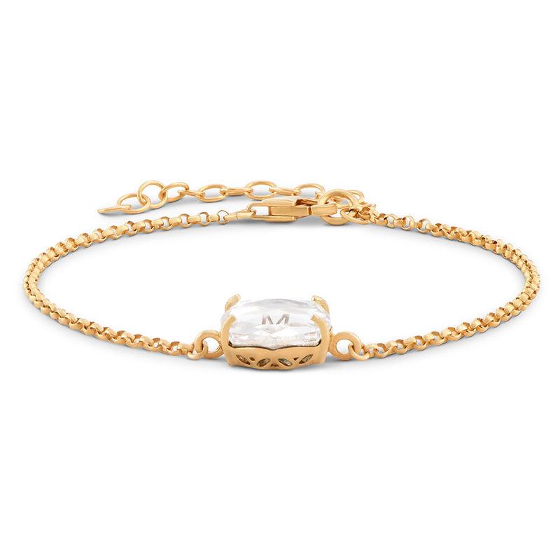 Gravierbares Armband mit Buchstaben, Swarovski-Stein und Gold-Beschichtung - 1