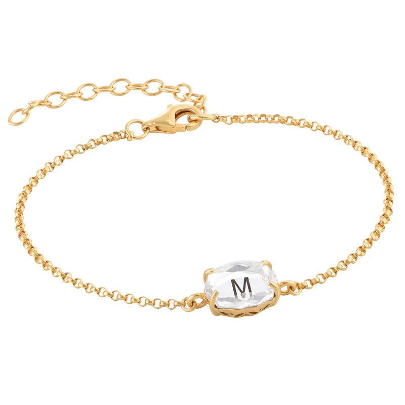 Gravierbares Armband mit Buchstaben, Swarovski-Stein und Gold-Beschichtung - 2