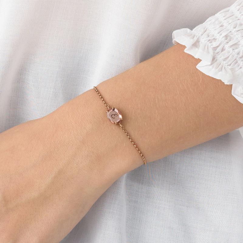 Gravierbares Armband mit Swarovski-Stein und Roségold-Beschichtung - 4