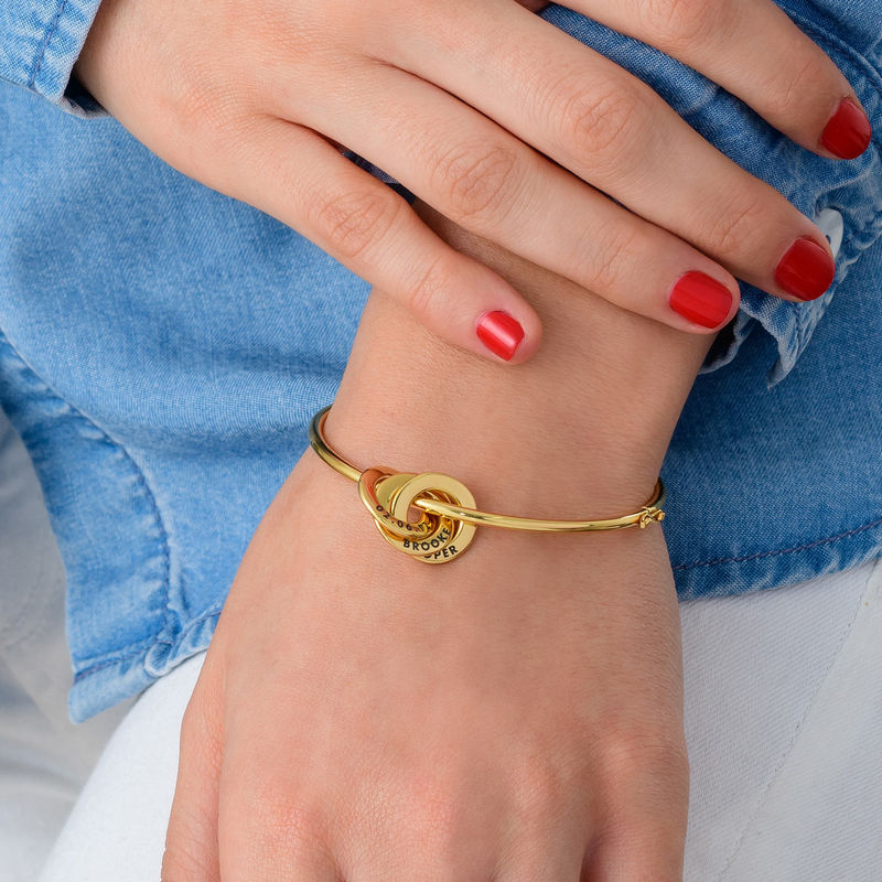 Vergoldeter, gravierter Armreif mit russischen Ringen - 2